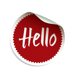 red sticker and text hello vector image