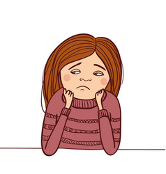 sad girl isolated vector image vector image