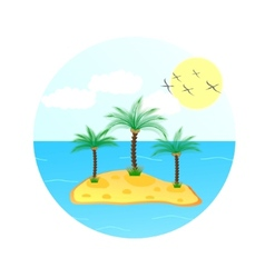 sea wave with palm tree and sun vector image vector image