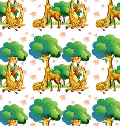Seamless giraffes in the forest vector