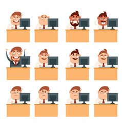 Set of business men at work icons vector