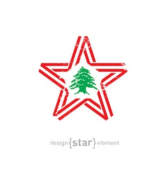 star with Lebanon flag colors symbols and grunge vector image vector image