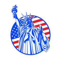 statue of liberty in blue on the background of the vector image