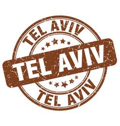 Tel aviv brown grunge round vintage rubber stamp vector