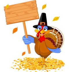 Thanksgiving turkey holding sign vector image