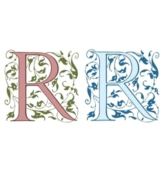 Vintage initials letter R vector image vector image