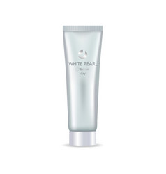 white pearl day face or hand cream in bottle tube vector image vector image