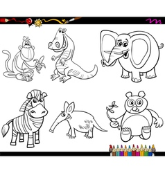 wild animals set coloring page vector image vector image