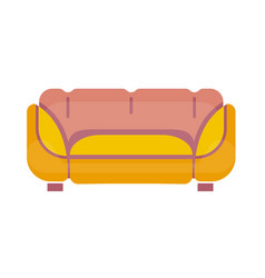 Yellow-pink sofa isolated on white flat vector