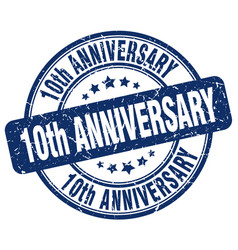 10th anniversary blue grunge stamp vector