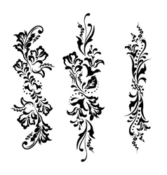 Set swirling decorative floral ornament vector