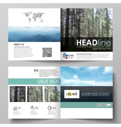 Templates for square design bi fold brochure vector image