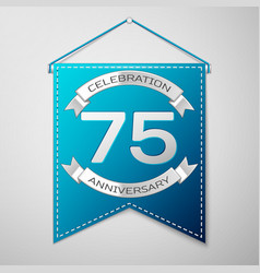 blue pennant with inscription seventy five years vector image