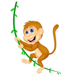 Cute monkey cartoon swinging vector