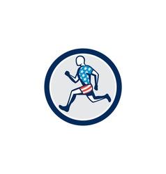 American Sprinter Runner Running Side View Retro vector image