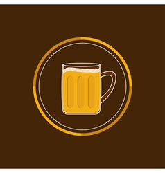 Beer glass mug round icon with foam cap froth vector