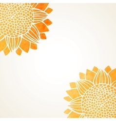 With watercolor sunflowers vector