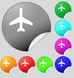 Airplane icon sign set of eight multi colored vector