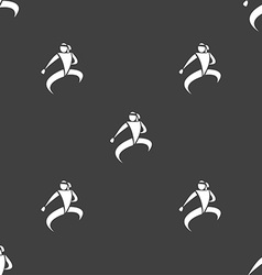 Karate kick icon sign seamless pattern on a gray vector