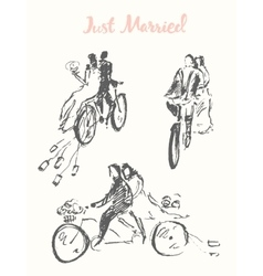 Drawn happy bride groom bicycle sketch vector