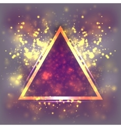 Abstract light background triangular gold frame vector