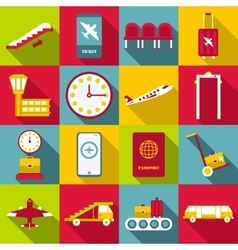 Airport symbols icons set flat style vector