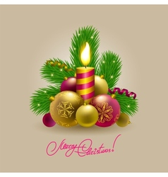 Background with baubles christmas tree vector image vector image