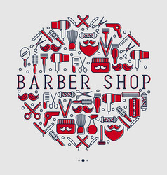 barber shop concept in circle with thin line icons vector image vector image