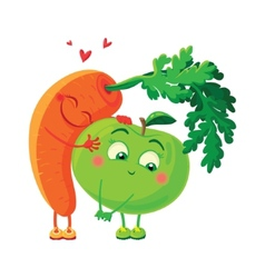 Carrots in love with the apple Vegetables hug vector image