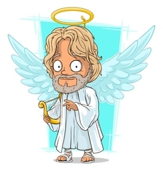 Cartoon good angel with nimbus and harp vector image
