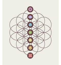 Chakra icons on flower of life modern design vector