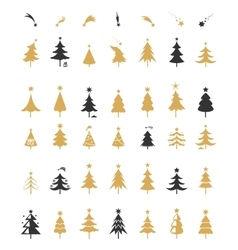 Christmas tree silhouette design vector image vector image