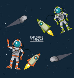 Colorful poster exploring the space with vector
