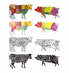 Cow and pig vector