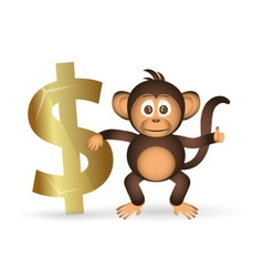 cute chimpanzee little monkey and dollar symbol vector image vector image