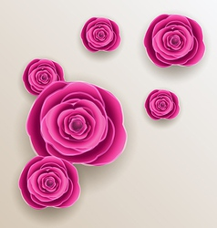 Cutout flowers - beautiful roses paper craft vector image