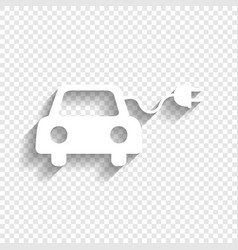 Eco electric car sign white icon with vector