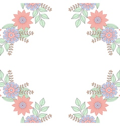 Floral doodles wreath frame in zentangle style vector