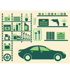 Garage interior and objects silhouettes set vector image