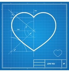Holiday Card Heart on blueprint paper vector image
