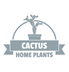 Home cactus logo simple gray style vector