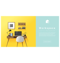 Interior design Modern workspace background 1 vector image