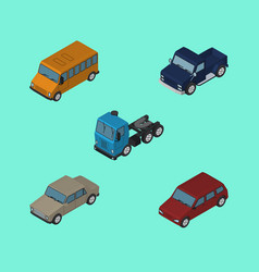 Isometric transport set of suv autobus car and vector