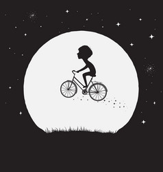Little boy flying on bicycle vector