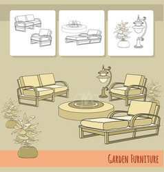 lounge chairs lantern fountain and flowers in vector image vector image