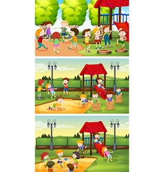 Many children playing in the playground vector