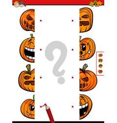 match halves game of halloween pumpkins vector image