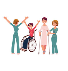 Medical rehabilitation crunches and wheelchair vector