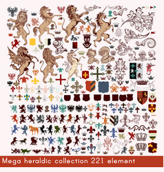 mega collection of heraldic elements vector image