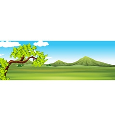 Nature scene with green field vector